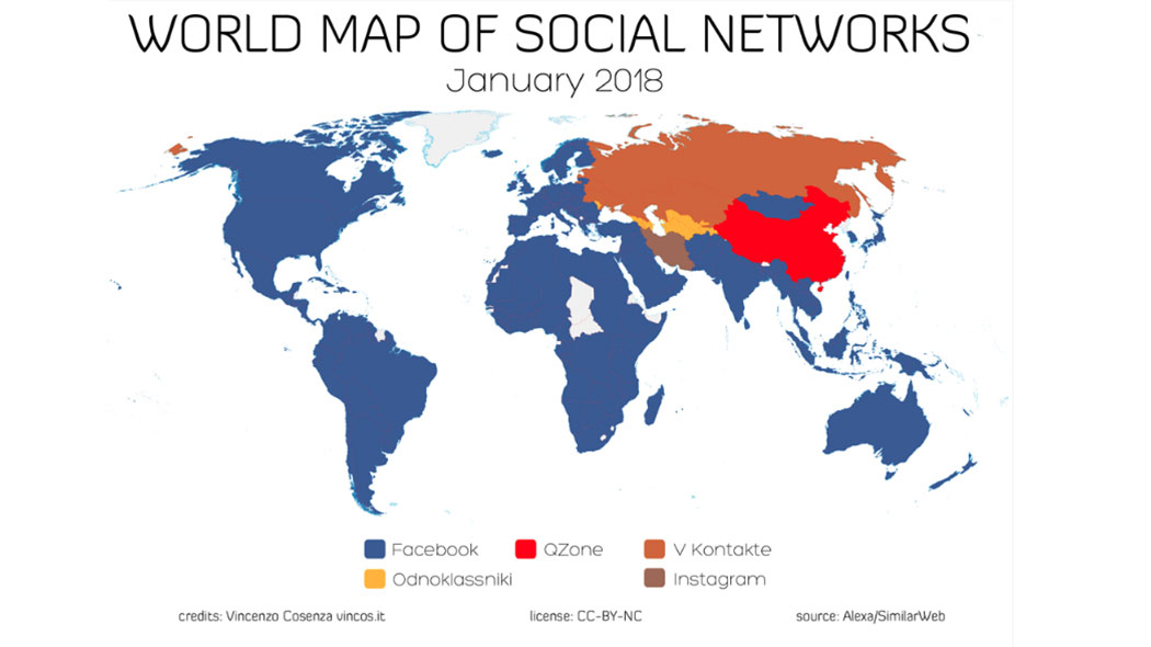 mappa social network mondiale 2018