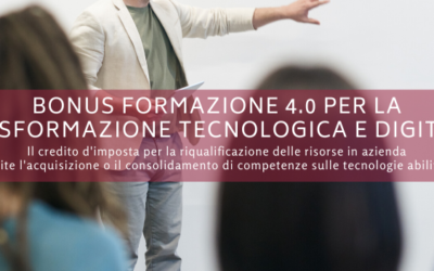 Verso la trasformazione tecnologica e digitale con il Bonus Formazione 4.0