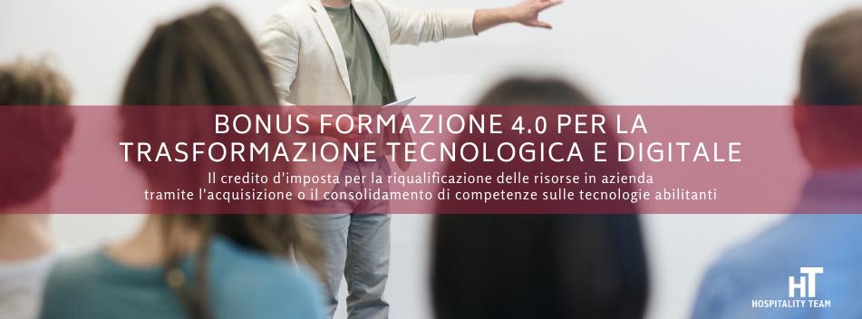 bonus, Verso la trasformazione tecnologica e digitale con il Bonus Formazione 4.0, Hospitality Team, Hospitality Team