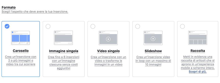 facebook ads formati