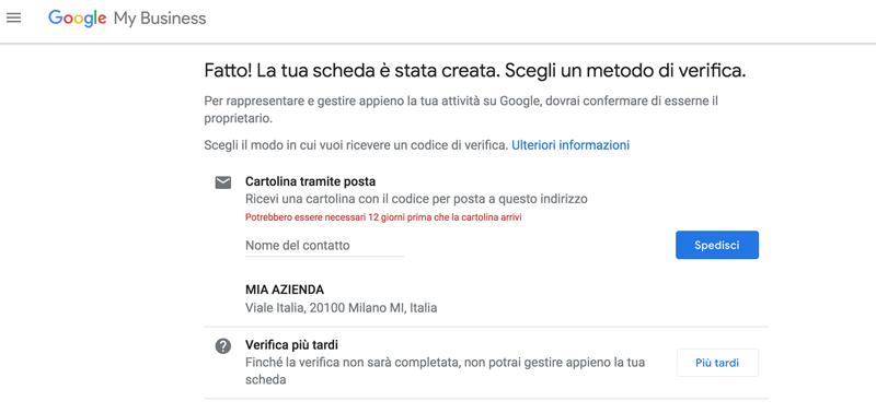 google my business verifica attività