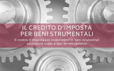 Il credito d'imposta per beni strumentali sostituisce super e iper ammortamento