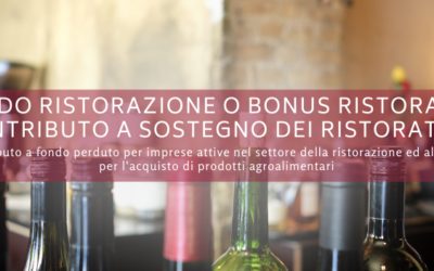 Fondo Ristorazione o Bonus Ristoranti: contributo a sostegno dei ristoratori